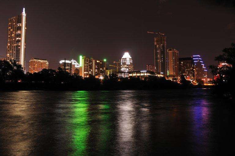 The downtown Austin, Texas skyline at night